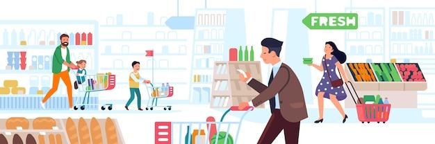 スーパーマーケットの人々。大きな店の買い物、カートとバスケットを持つ多くのキャラクター、検索顧客ベクトルの概念を持つ適切な製品市場の男性、女性、子供