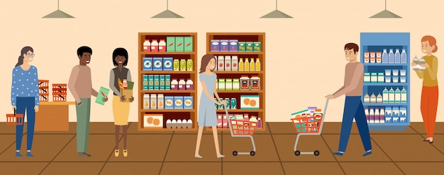 Супермаркет. люди выбирают и покупают продукты в продуктовом магазине