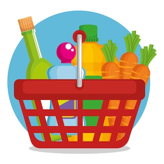 Supermarket products in shopping basket