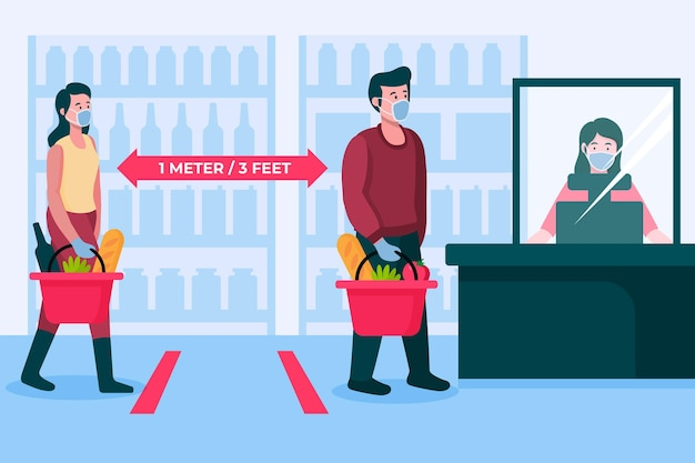 Supermarket queue with safety distance