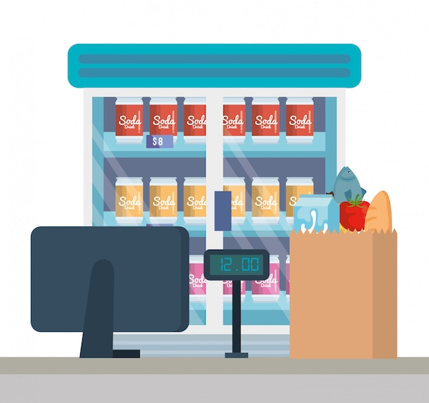 Супермаркет холодильник с продуктами и пункт продажи