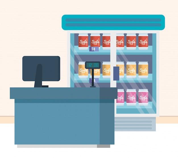 제품 및 판매 지점이있는 슈퍼마켓 냉장고