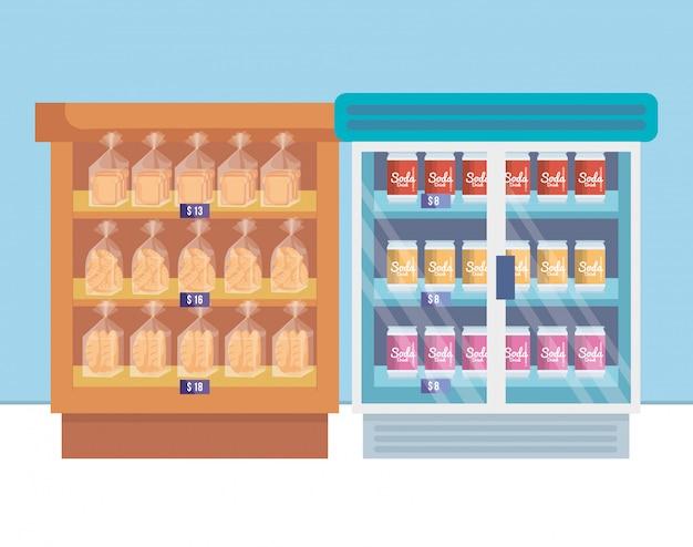 棚と製品を備えたスーパーマーケット冷蔵庫