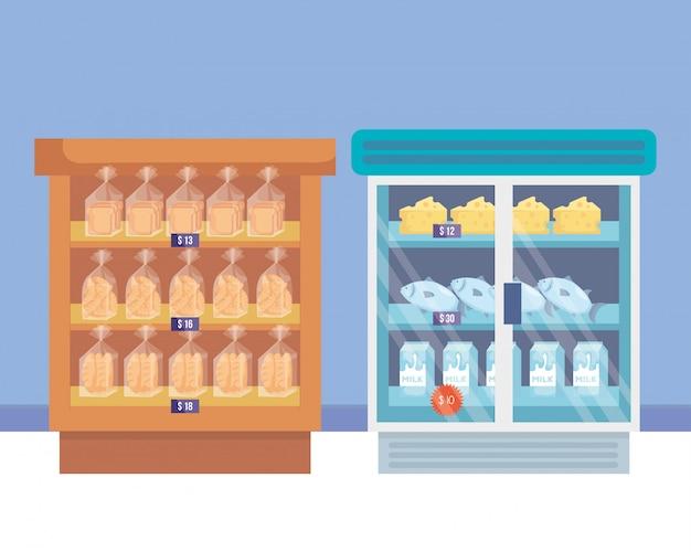 선반과 제품을 갖춘 슈퍼마켓 냉장고