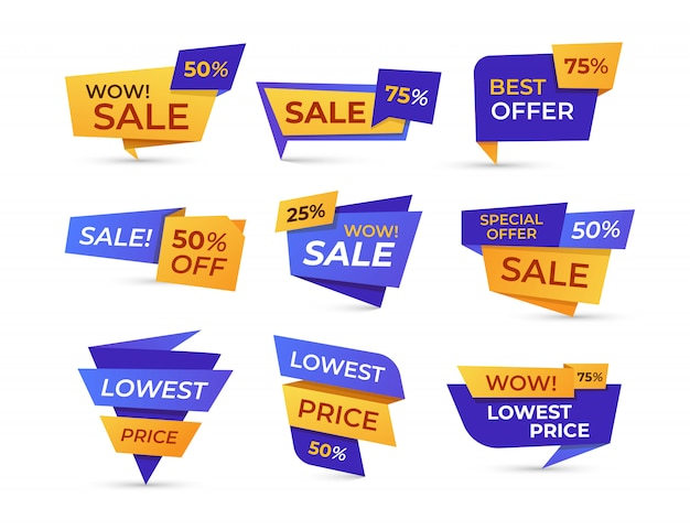 Supermarket sale labels flat icon set