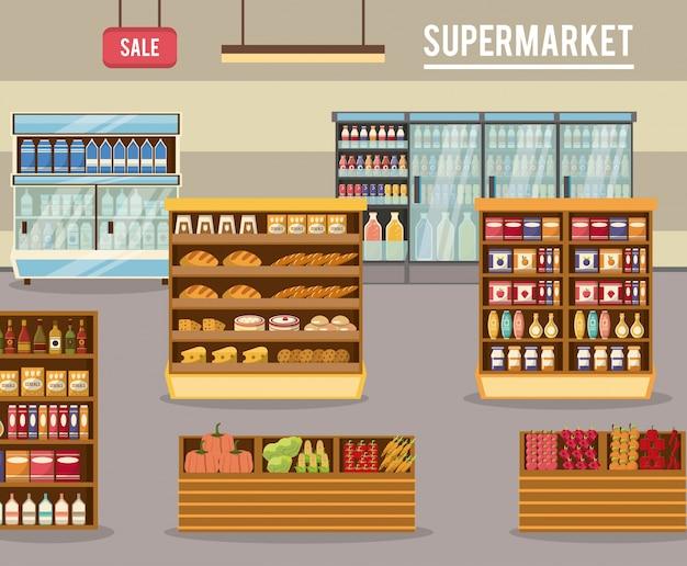 Иллюстрация стендов для супермаркетов