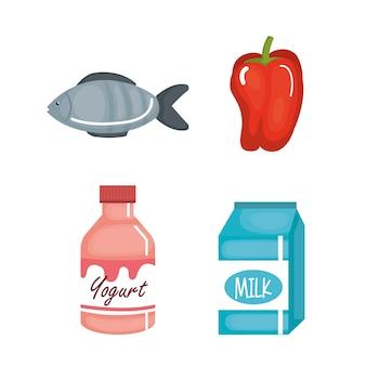 Supermarket set products icon