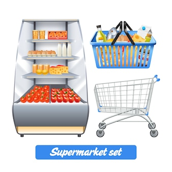 Supermarket set with realistic food shelves shopping basket and empty trolley