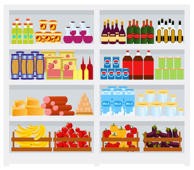 Полка супермаркета с товарами, фруктами и овощами.