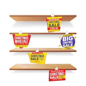Supermarket shelves, holidays christmas sale advertising wobblers