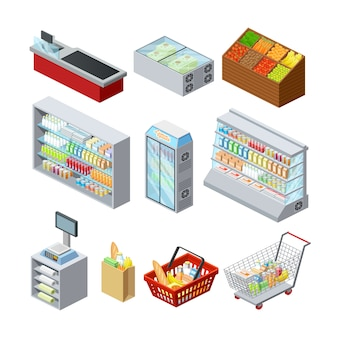 Supermarket shelves showcases freezer cashier counter and customer shopping basket