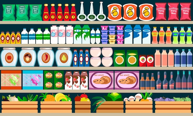 Supermarket shelves with assortment products and drinks.