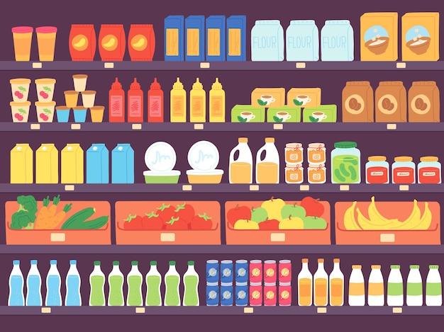 Полки супермаркетов с продуктами питания. полка продуктового магазина с ассортиментом, макаронами, дневником, мукой, фруктами и напитками. векторный концепт рынка. иллюстрация магазин продуктов питания, рынок продуктовый магазин