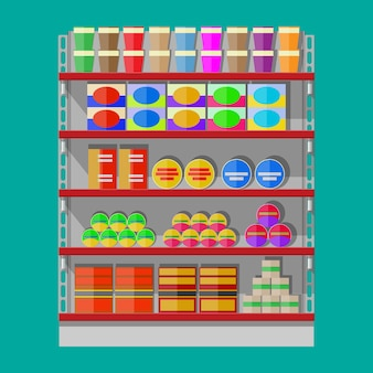 Полки для супермаркетов с продуктами.