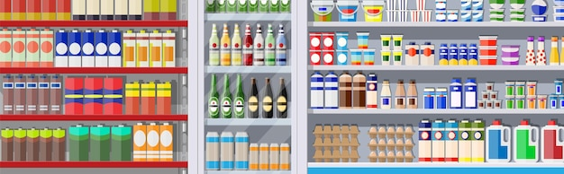 Supermarket shelves with groceries