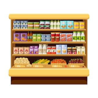 Супермаркет, полки с продуктами и напитками. кладовая