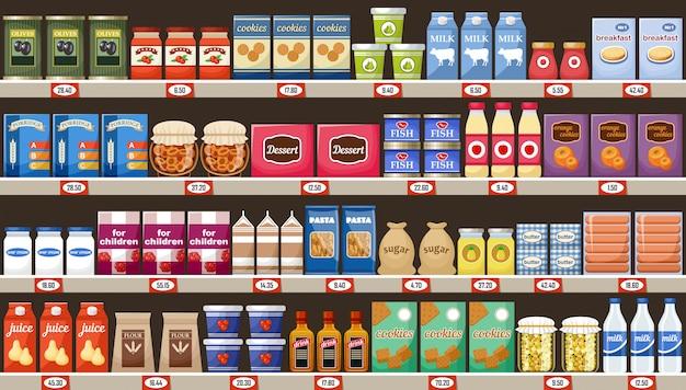 スーパーマーケット、製品と飲み物の棚