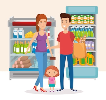 Supermarket shelvings with family buying