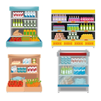 Supermarket shelvings with products
