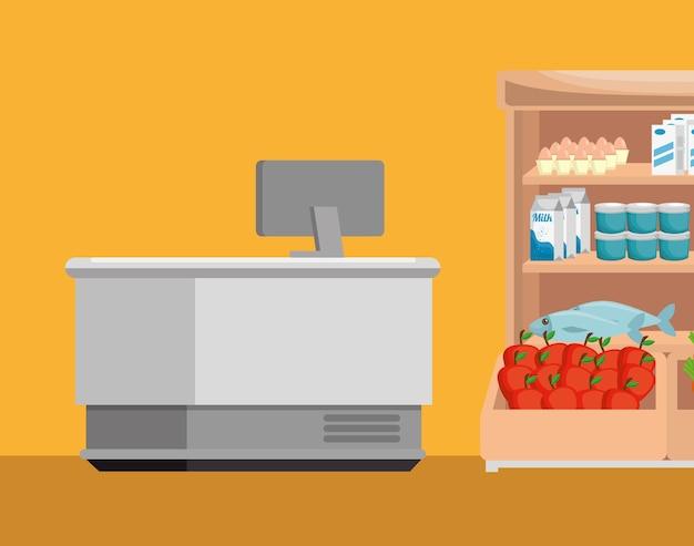 Supermarket shelvings with register machine