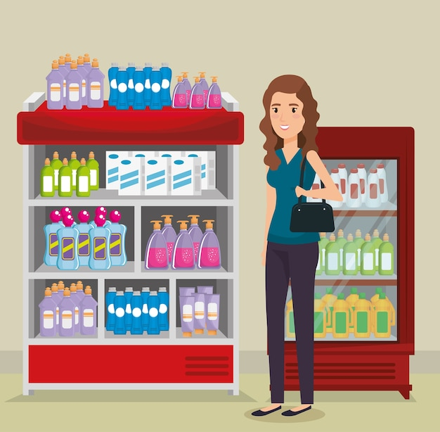 Supermarket shelvings with woman buying