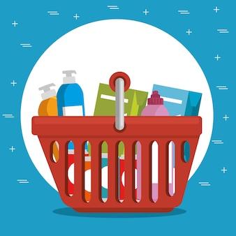 Supermarket shopping basket cartoon