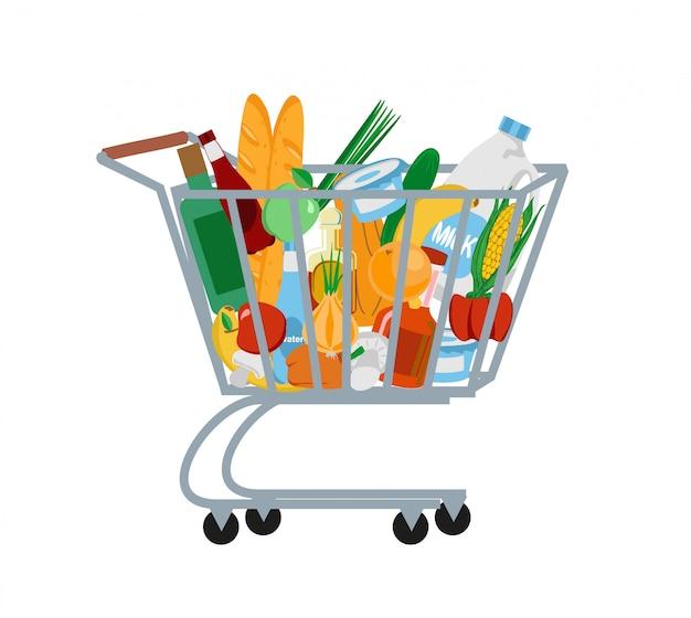 スーパーマーケットのショッピングカート。食料品でいっぱいのショッピングトロリー。図。