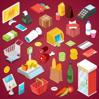 Supermarket shopping isometric 3d set