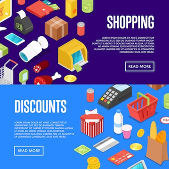 Supermarket shopping isometric banner web set