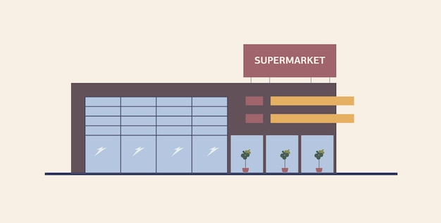 Supermarket, shopping mall or big box store built in contemporary architectural style