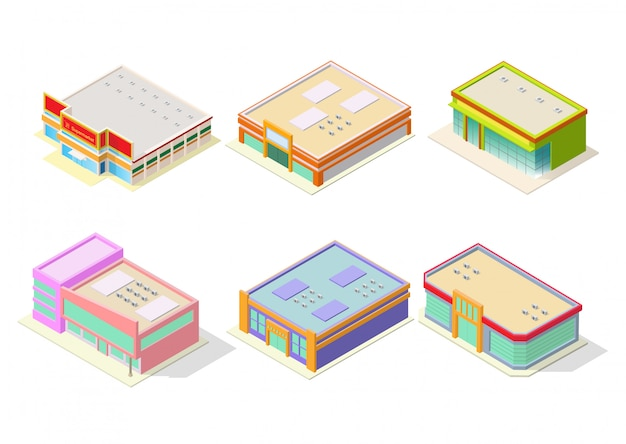 Supermarket or shopping mall building set
