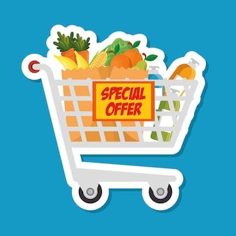 Supermarket shopping trolley cartoon
