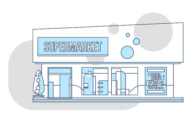 Витрина супермаркета и иллюстрация рекламы, стиль тонкой линии