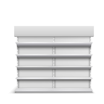 Supermarket showcase empty shelves 3d realistic vector isolated