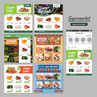 Supermarket social media square promotional template