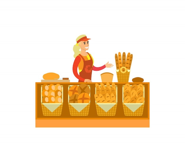 Supermarket store bakery department woman vector