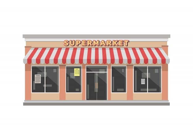 Supermarket store building illustration in flat style