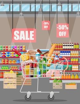 Интерьер магазина супермаркета с товарами. большой торговый центр. интерьерный магазин внутри.