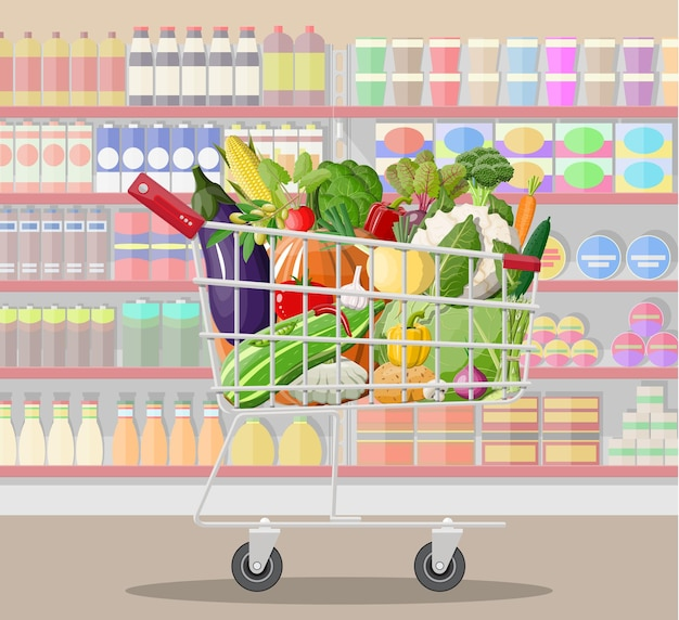 Supermarket store interior with vegetables in shopping cart.