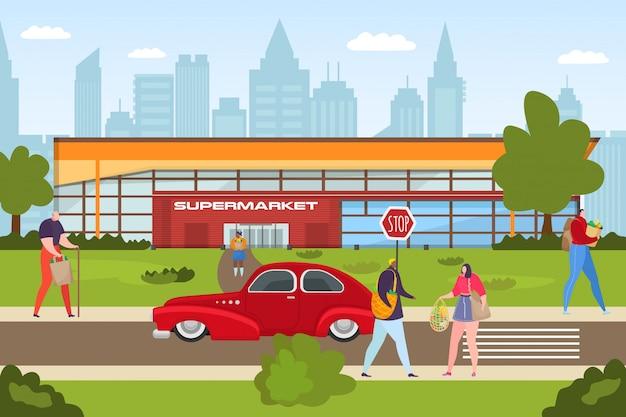 スーパーストア、人々はショッピングの概念図。お客様キャラクターが店頭で小売購入。フラットビジネス