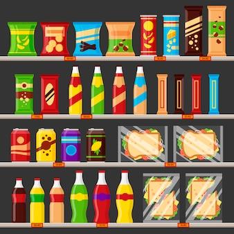 スーパーマーケット、食料品店の棚。