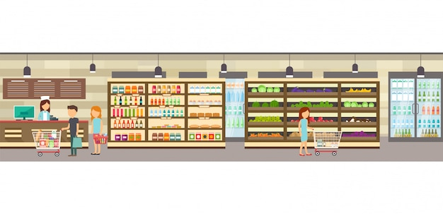 Supermarket store with goods.