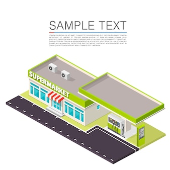 Supermarket with petrol station on the roadside. vector illustration