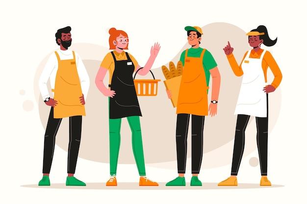 슈퍼마켓 노동자 수집 개념