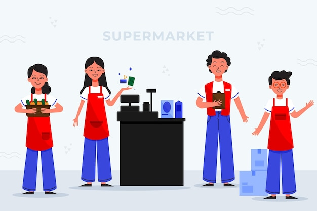 Supermarket workers collection