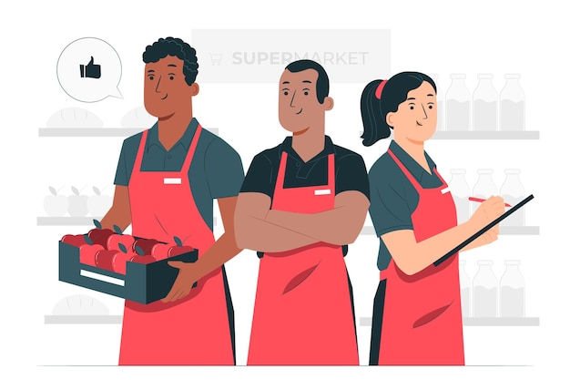 Supermarket workers concept illustration
