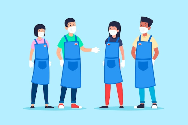 Pack di lavoratori del supermercato