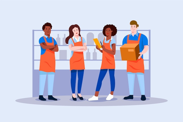 Supermarket workers pack