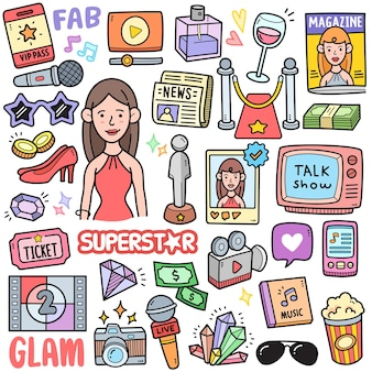 Superstar and celebrity colorful vector graphics elements and doodle illustrations