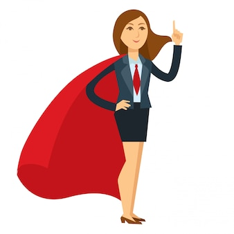 Superwoman in heroic pose with large red cloak